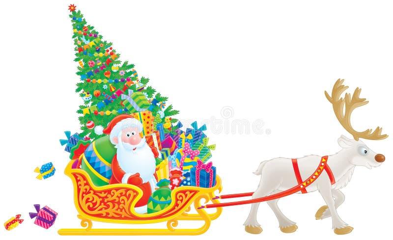 Sankt-Schlitten mit dem Weihnachtsbaum und den Geschenken lizenzfreie abbildung
