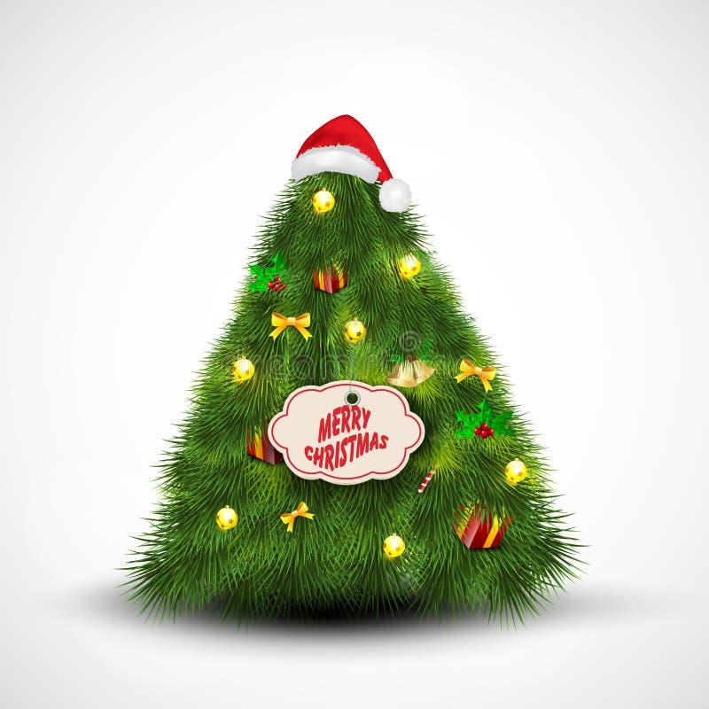 Sankt-Schutzkappe auf Weihnachtsbaum. stock abbildung