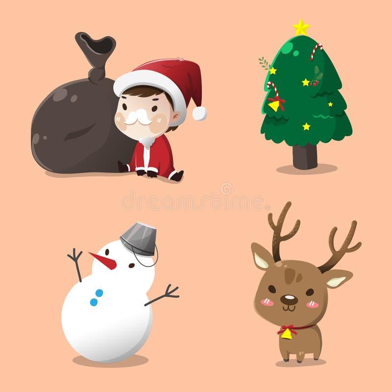 Sankt stellte für Weihnachtstag ein lizenzfreie abbildung
