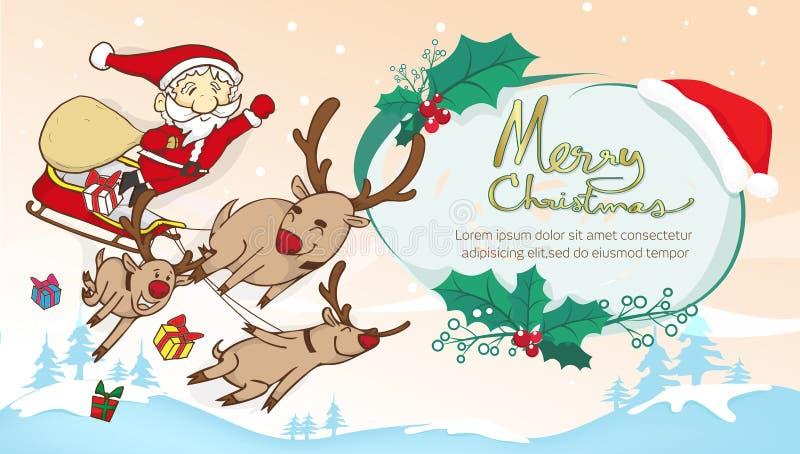 Sankt und Renfliegen- und -textrahmen, Text Franc der frohen Weihnachten stock abbildung