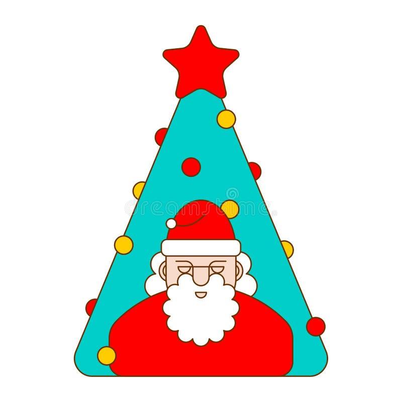 Sankt- und Weihnachtsbaum linear Neues Jahr-Vektorillustration vektor abbildung