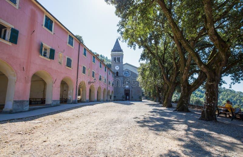Sanktuarium Nostra Signora Di Soviore, losu angeles Spezia prowincja blisko Monterosso w 5 terre, Włochy zdjęcie royalty free