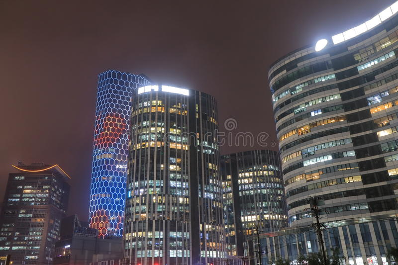 Sanlitun commercial district cityscape Beijing China. Sanlitun commercial district cityscape in Beijing China royalty free stock photography