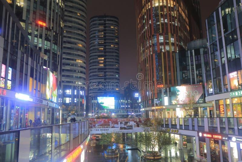 Sanlitun commercial district cityscape Beijing China. People visit Sanlitun village commercial district in Beijing China royalty free stock image