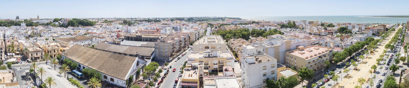 Sanlucar de Barrameda,卡迪士,西班牙空中全景  库存照片