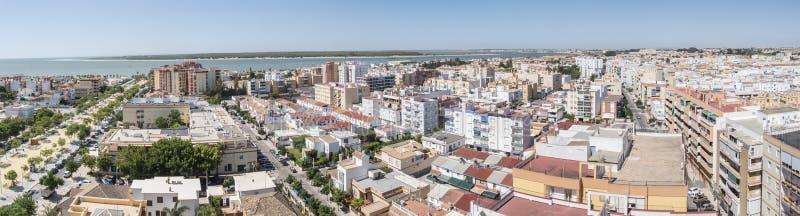 Sanlucar de Barrameda,卡迪士,西班牙空中全景  免版税图库摄影