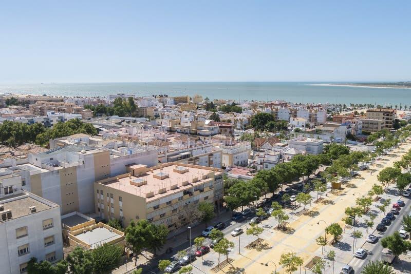 Sanlucar de Barrameda aereal景色,卡迪士,西班牙 库存图片