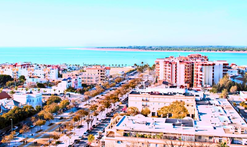 Sanlucar de Barrameda. Aerial view of the city of Sanlucar de Barrameda in the south of Spain in a sunny day royalty free stock photo