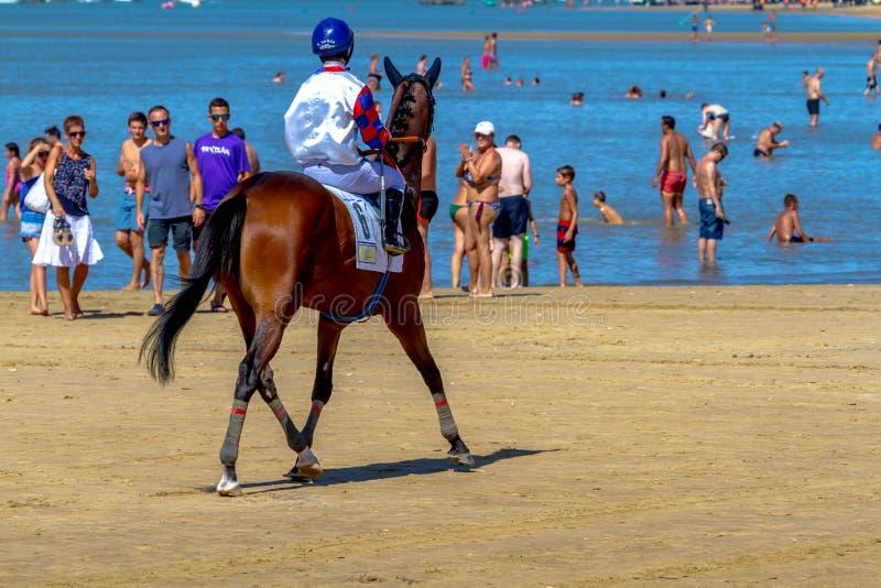 Horse race on Sanlucar of Barrameda, Spain, 2016 royalty free stock photography