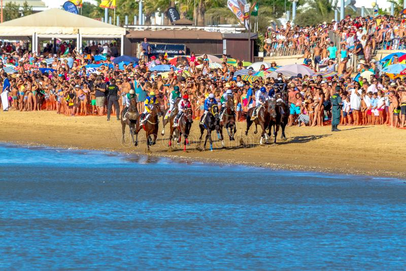 Horse race on Sanlucar of Barrameda, Spain, 2016 stock images