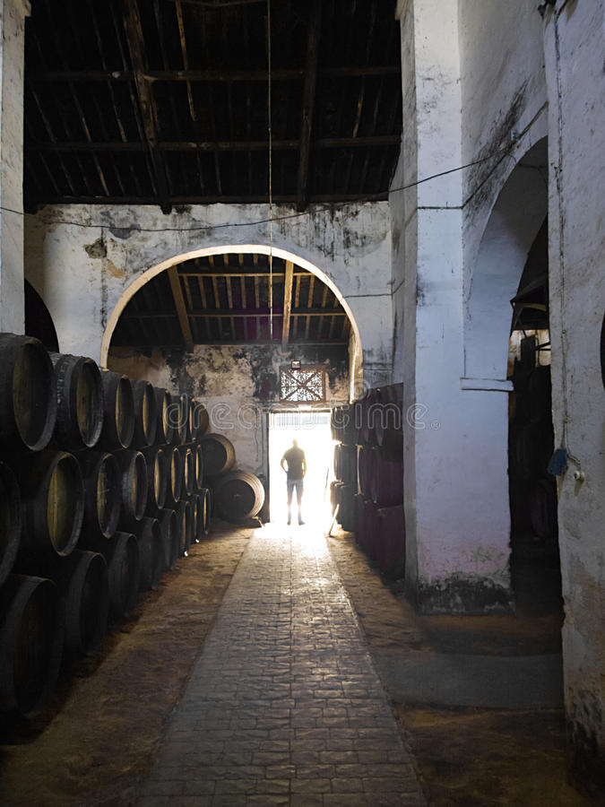 SANLUCAR DE BARRAMEDA, SPAIN - APRIL 12, 2015 - Cigarrera Wine cellar. The traditional rules employed during the process of making royalty free stock photos