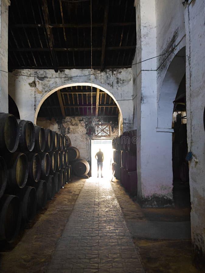 SANLUCAR DE BARRAMEDA, SPANIEN - 12. April 2015 - Cigarrera-Weinkeller Die traditionellen Regeln eingesetzt während des Prozesses lizenzfreie stockfotos