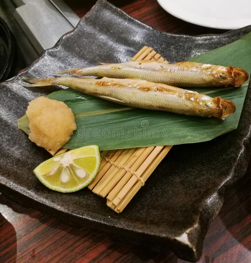 Sanma grilled Japanese egg fish served with green lime royalty free stock images