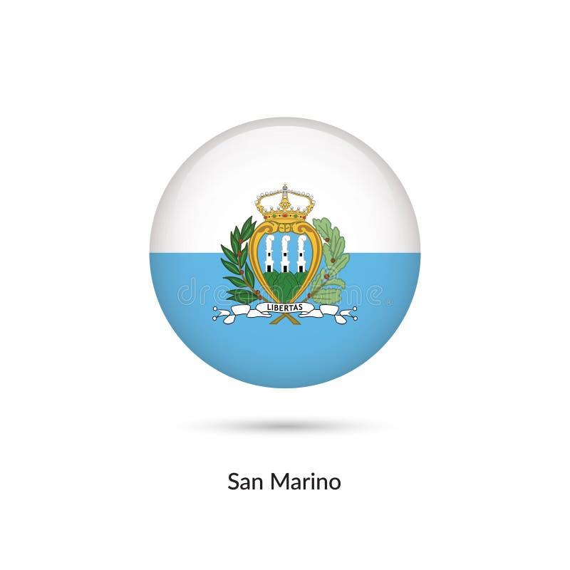 Sanmarinsk flagga - rund glansig knapp stock illustrationer