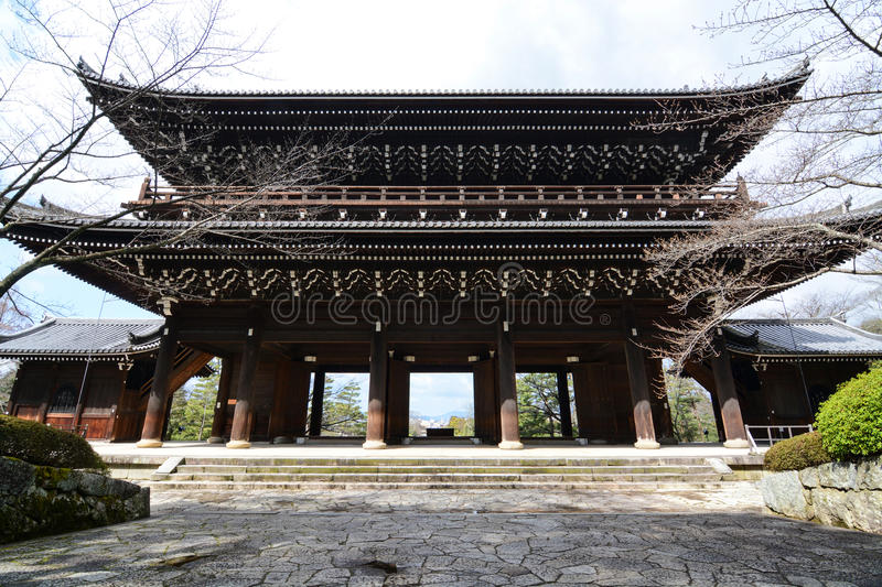 Sanmon main gate entrance to the historic Chion-in temple in Kyoto, Japan. Huge main entrance gate, the Sanmon, at the historical Chion-in temple in Kyoto City royalty free stock image
