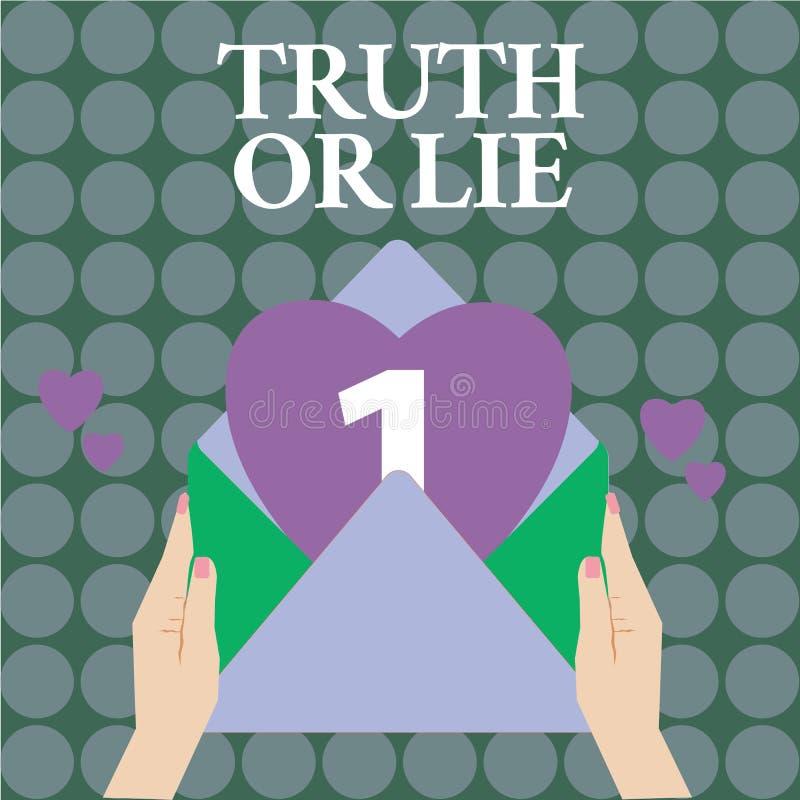Sanning eller lögn för ordhandstiltext Affärsidéen för beslutet mellan att vara ärligt ohederligt primat tvivel avgör vektor illustrationer