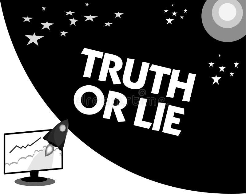 Sanning eller lögn för ordhandstiltext Affärsidéen för beslutet mellan att vara ärligt ohederligt primat tvivel avgör stock illustrationer