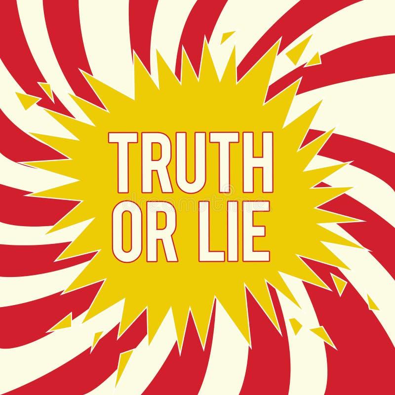 Sanning eller lögn för ordhandstiltext Affärsidéen för beslutet mellan att vara ärligt ohederligt primat tvivel avgör royaltyfri illustrationer