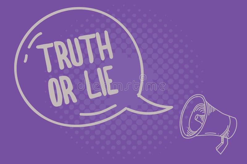 Sanning eller lögn för textteckenvisning Det begreppsmässiga fotobeslutet mellan att vara ärligt ohederligt primat tvivel avgör stock illustrationer