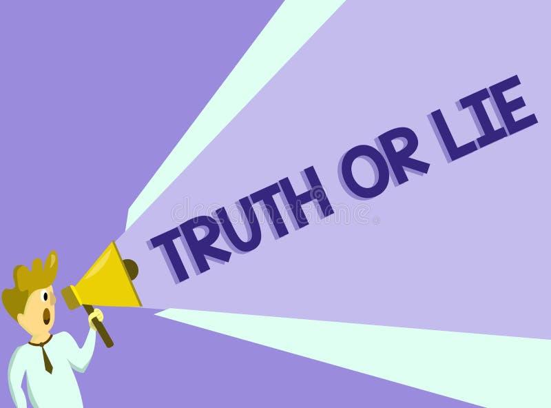 Sanning eller lögn för textteckenvisning Det begreppsmässiga fotobeslutet mellan att vara ärligt ohederligt primat tvivel avgör royaltyfri illustrationer