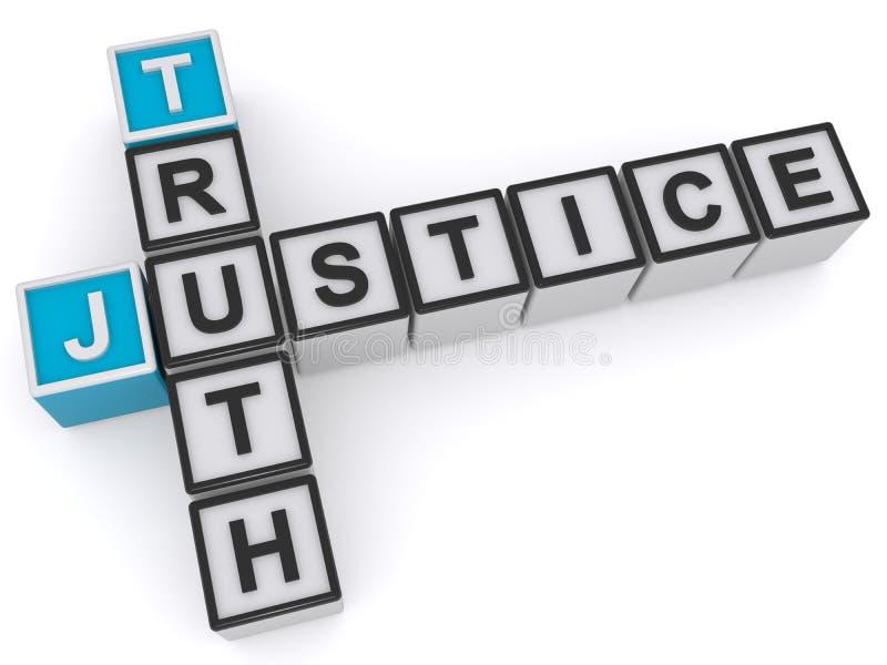 Sanning och rättvisa royaltyfri illustrationer