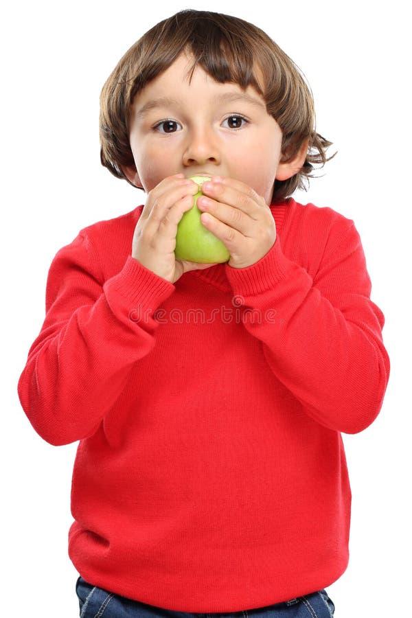 Sano di caduta di autunno della frutta della mela di cibo del bambino del bambino isolato sul whi fotografia stock libera da diritti