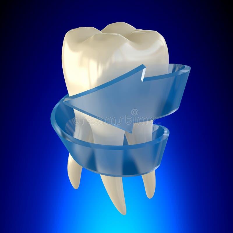 Sano molare riparato fresco del dente su fondo blu immagini stock