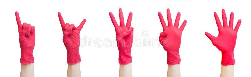 Sano, vitamine, vaccinazione, deposito medico, farmacia, recupero, concetto adeguato di nutrizione - segni fatti dei guanti medic fotografie stock libere da diritti