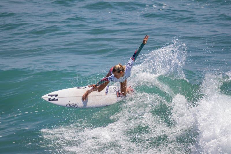 Sanoa Dempfle-Olin surfing w samochodów dostawczych us open surfing 2019 obrazy royalty free