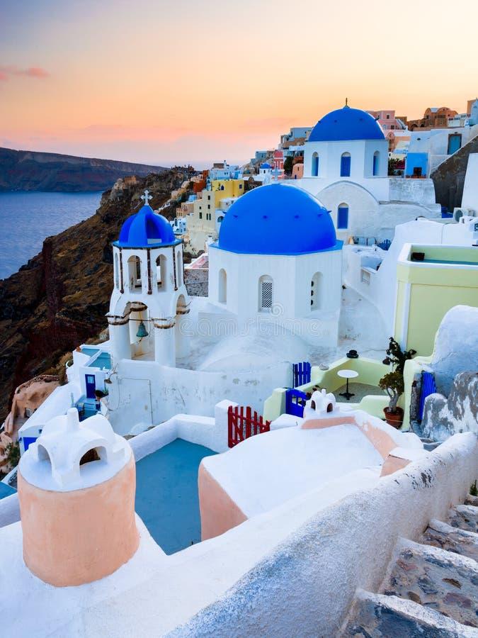 Sanotorini Grekland solnedgång fotografering för bildbyråer