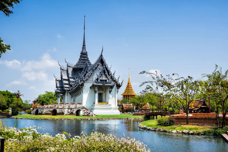 Sanphet Prasat宫殿 古城公园, Muang Boran,曼谷,泰国 免版税库存图片