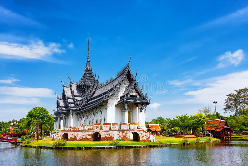 Sanphet Prasat Palace, Ancient City, Bangkok stock photography