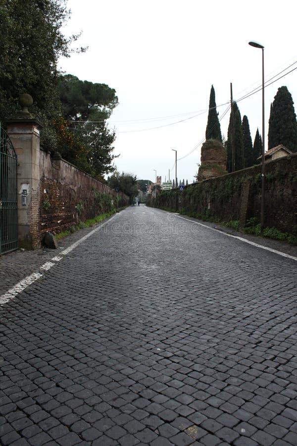 Sanpietrini dedans par l'intermédiaire d'Appia Antica, photographie stock