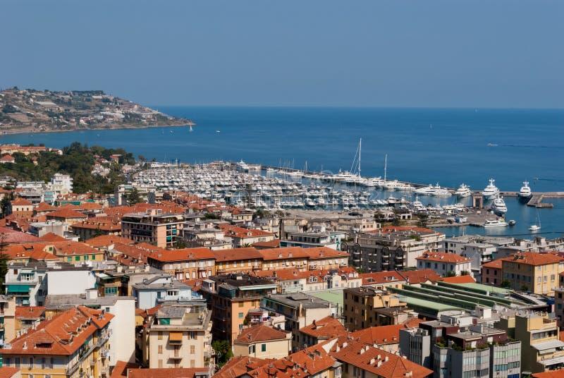 Sanremo Stadt- und Hafenansicht stockbilder