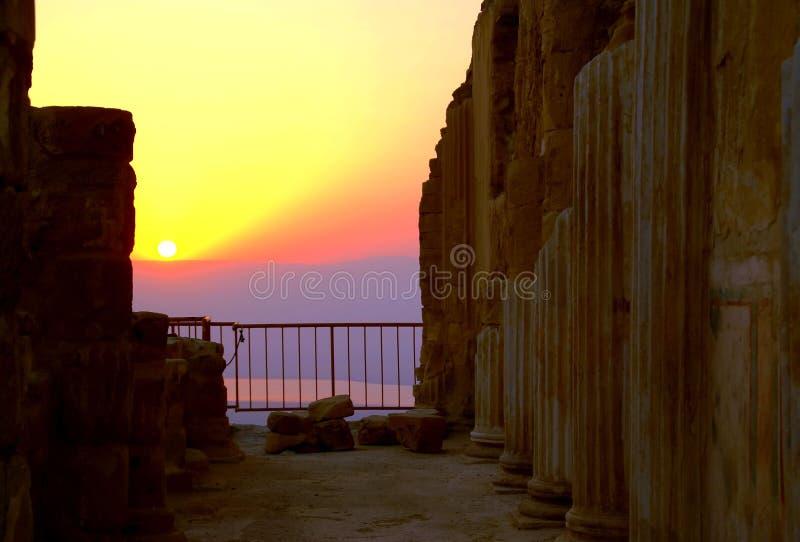 Sanrise Ansicht von Masada stockfotografie