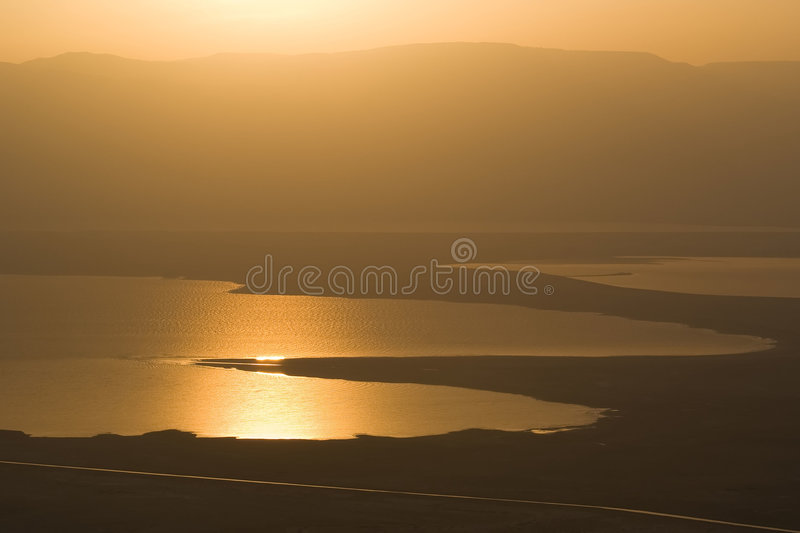 Sanrise at Dead Sea. View from Masada royalty free stock images