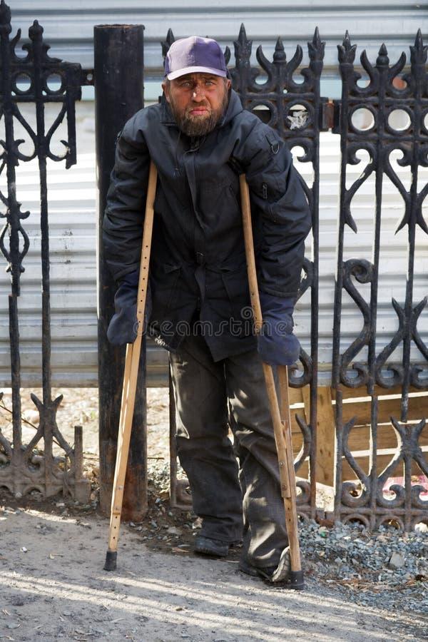 Sans-abri handicapé. photo libre de droits