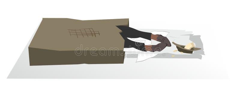 Sans-abri ou mendiant de sommeil dans l'illustration de boîte en carton illustration de vecteur