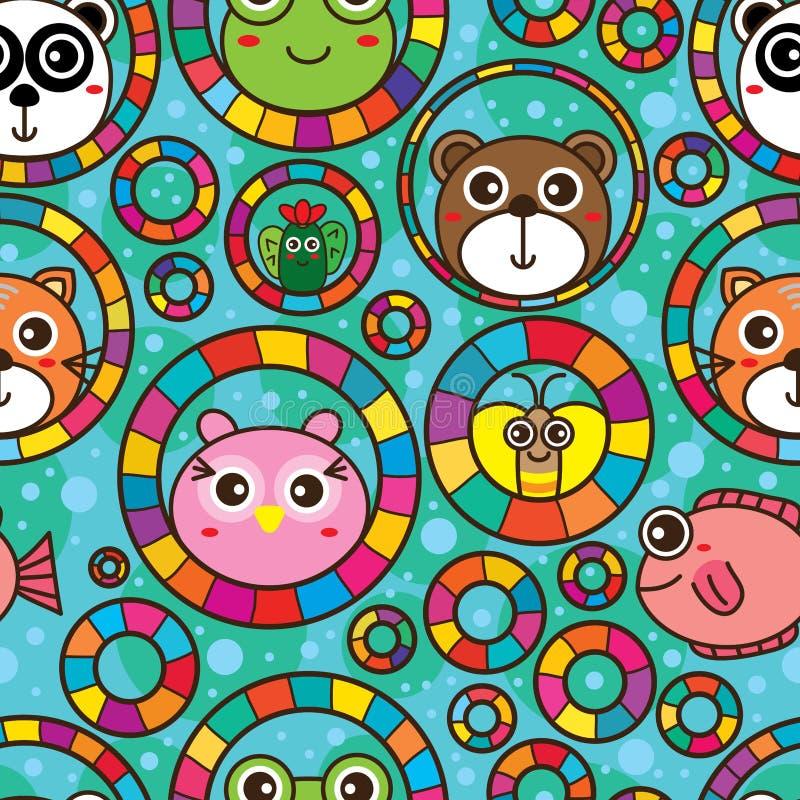 Sans couture animal mignon de rêve de poissons de cercle de cercle illustration de vecteur