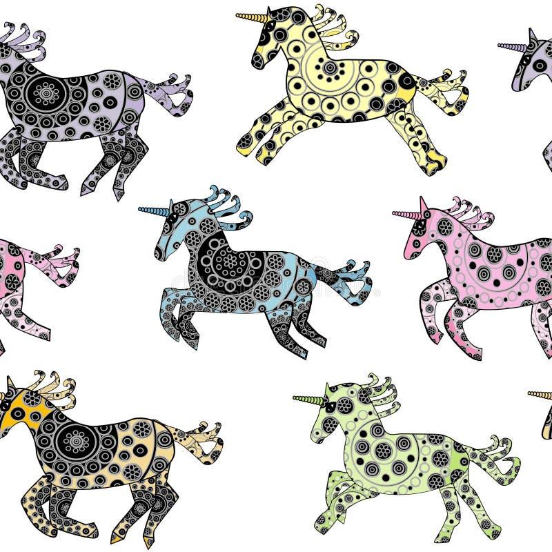 Sans couture avec des licornes de bande dessinée au-dessus d'un fond blanc illustration stock