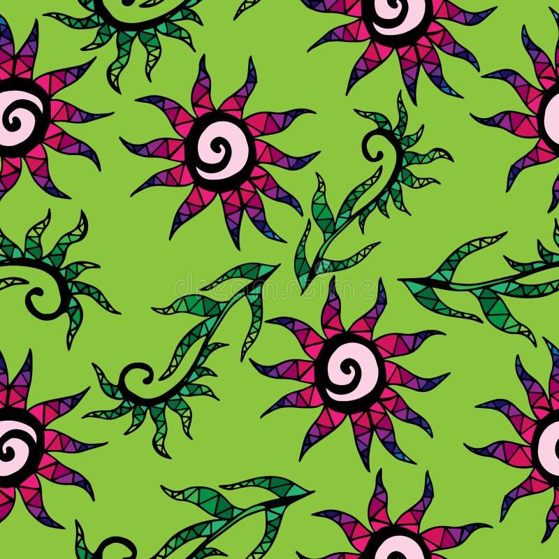 Sans couture avec la fleur et les feuilles multicolores abstraites illustration de vecteur