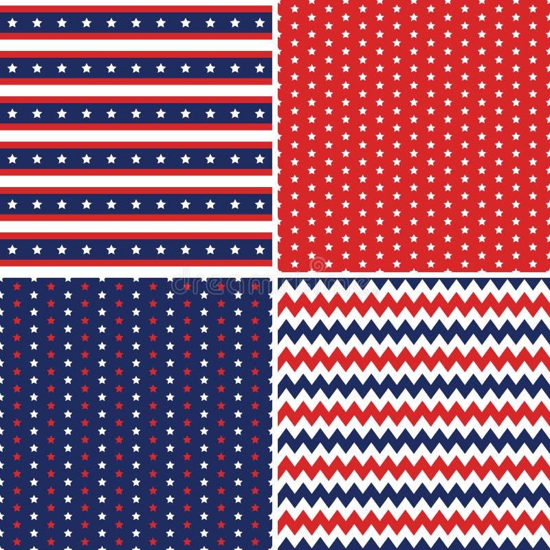 Sans couture bleu blanc rouge de milieux de Jour de la Déclaration d'Indépendance illustration de vecteur