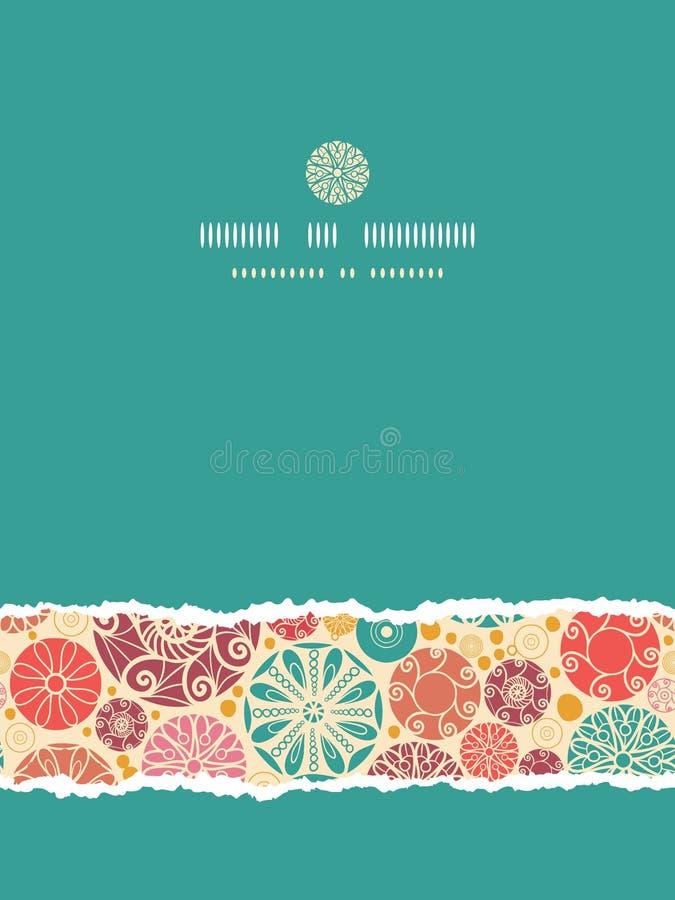 Sans couture déchiré par verticale décorative abstraite de cercles illustration libre de droits