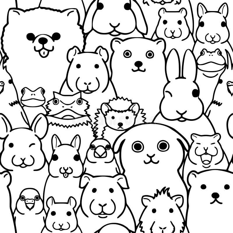Sans couture fond visages d'animaux de compagnie de griffonnage de schéma illustration de vecteur