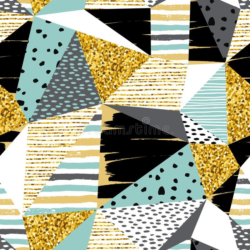 Sans couture géométrique abstrait avec des éléments de scintillement d'or de modèle illustration libre de droits