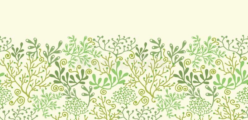 Sans couture horizontal de jardin sous-marin d'algue illustration de vecteur