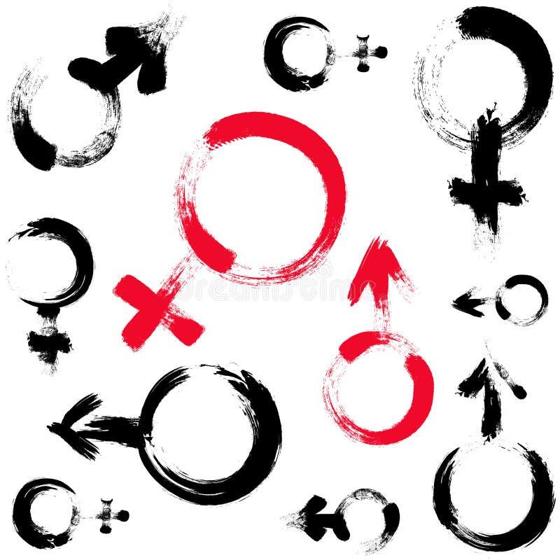 Sans couture modelez avec des simbols de venus et troublez Illustration peinte par brosse Fond avec des signes de l'homme et de f illustration libre de droits