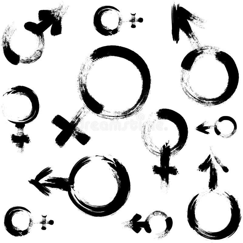 Sans couture modelez avec le simbol du venus et troublez Illustration peinte par brosse signe de l'homme et de femme illustration de vecteur