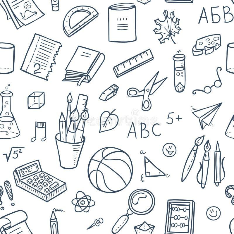 Sans couture rayé de nouveau au modèle d'école avec des approvisionnements stationnaires et d'autres éléments créatifs illustration de vecteur