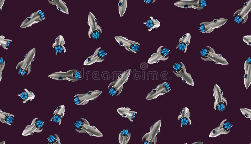 Sans couture rendez la composition colorée en science fiction de conception de navette spatiale de jouet en métal de texture du f illustration stock